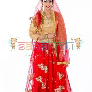 Radha Rani Lehenga Fancy Dress (Red & Cream)