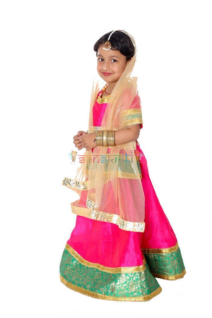 Lehenga DressRadha Rani Lehenga Fancy Dress (Pink & Cream)