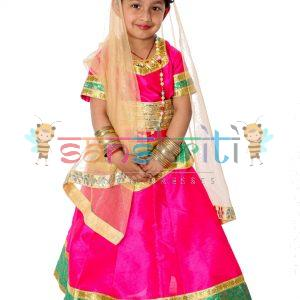 Lehenga DressRadha Rani Lehenga Fancy Dress (Pink & Cream)