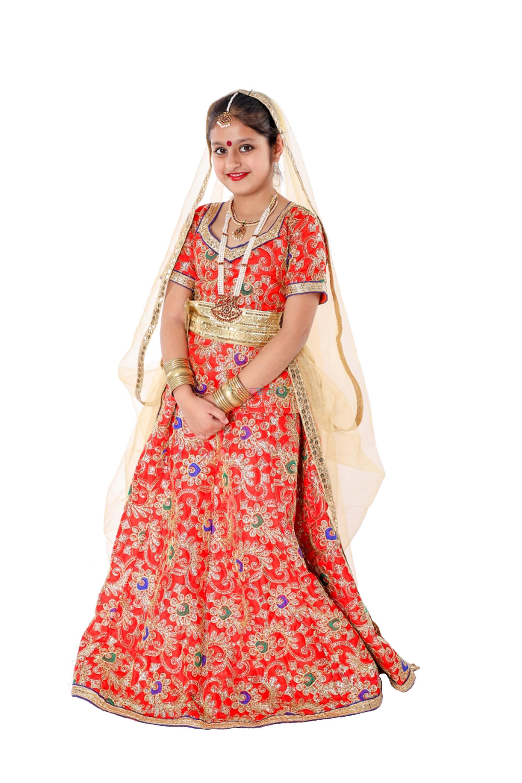 Radha Rani Lehenga Fancy Dress (Red & Cream)