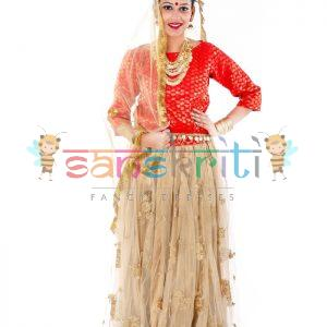 Radha Rani Lehenga Fancy Dress (Cream & Red)