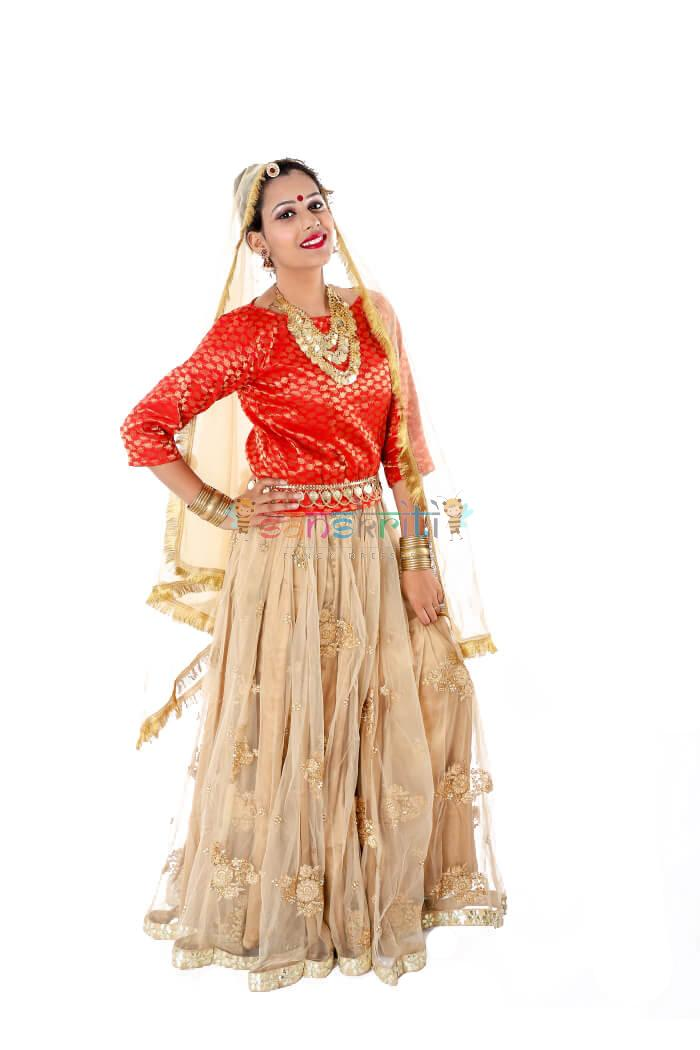 Radha Lehenga Fancy Dress (Cream & Red)