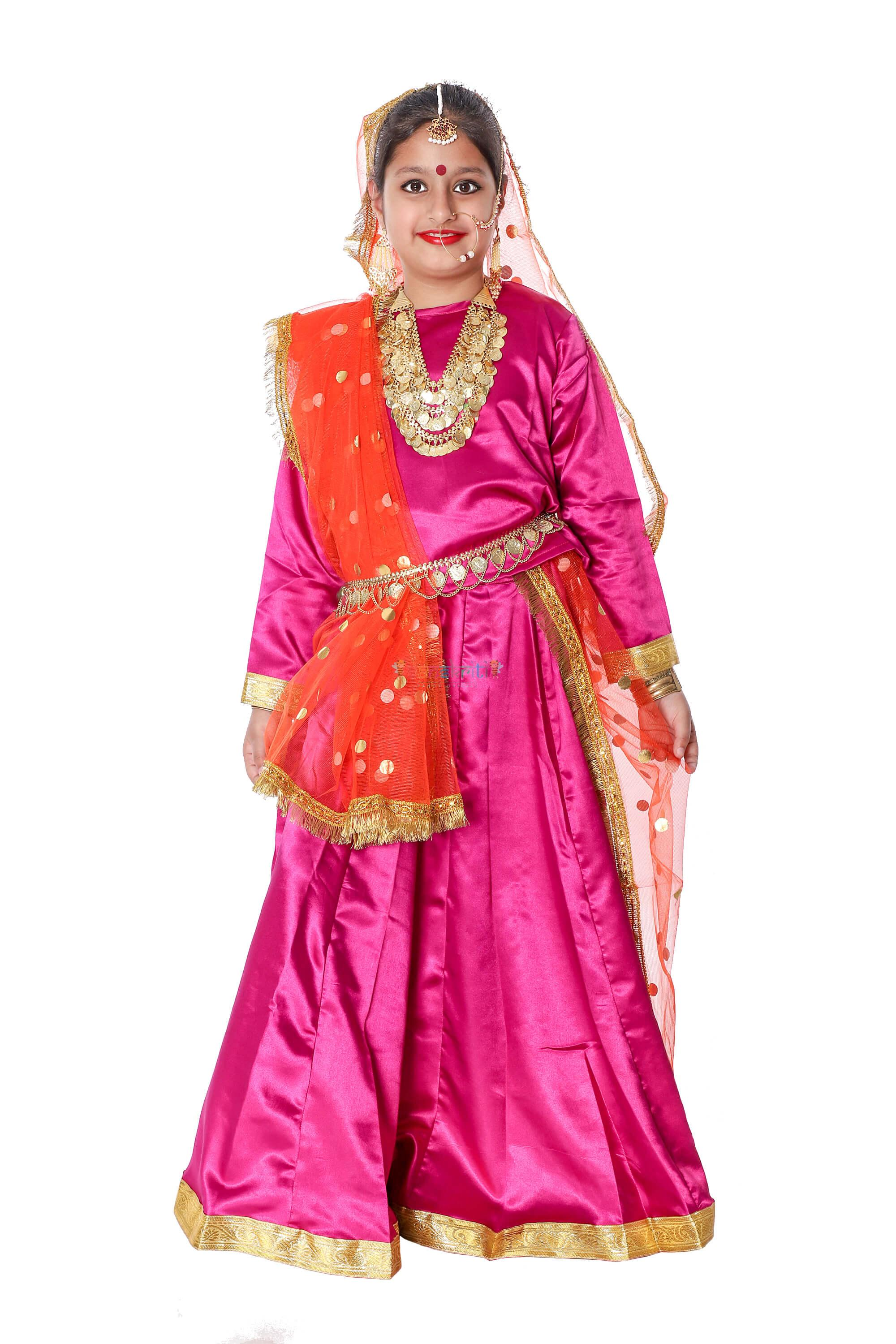 Lehenga Fancy Dress (Pink)& Orange