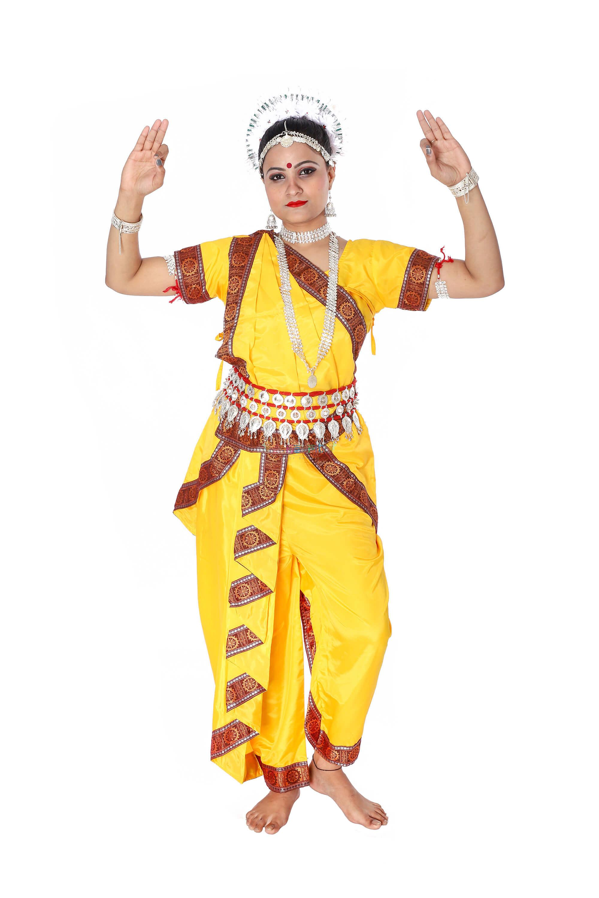 Odissi Classical Dance Dress (Yellow)