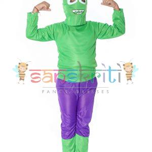 Green Hulk Cartoon Fancy Dress Costume For Kids