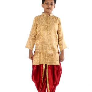 Achkan Dhoti Dress for Boy In Red And Golden Color Combination