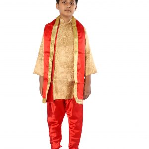 Achkan Churidar Suit for Boy In Golden And Red Combination