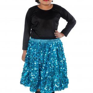 Western Dance Fancy Dress Skirt-Top In Black & Firozi Color Combination