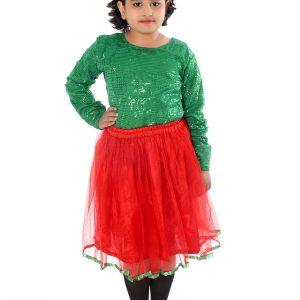 Western Dance Fancy Dress Skirt-Top In Green & Red Color Combination