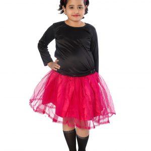 Western Dance Fancy Dress Skirt-Top In Black & Magenta Color Combination