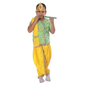 Krishna Fancy Dress Costume In Parrot Green and Yellow Color