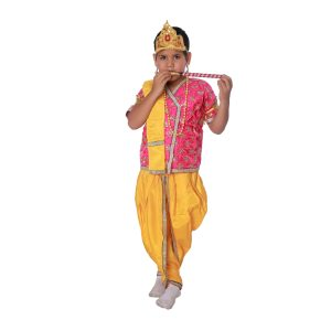 Krishna Fancy Dress Costume In Pink And Yellow Color