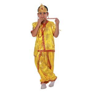 Krishna Fancy Dress Costume Japanese Satin In Yellow Color