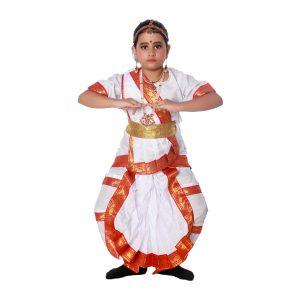 Bharatanatyam Dress Costume In White And Red